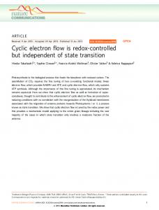 Cyclic electron flow is redox-controlled but ... - Semantic Scholar