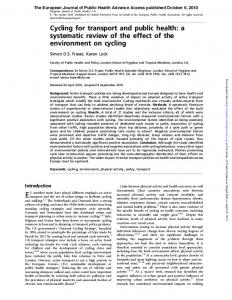 Cycling for transport and public health - Perelman School of Medicine