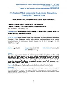 Cyclization of Multi Components Reactions and