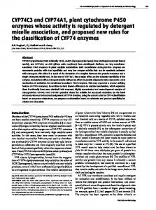 CYP74C3 and CYP74A1, plant cytochrome P450 enzymes whose