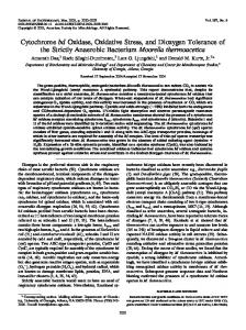 Cytochrome bd Oxidase, Oxidative Stress, and Dioxygen Tolerance of ...