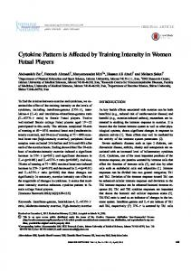 Cytokine Pattern is Affected by Training Intensity in ... - Semantic Scholar