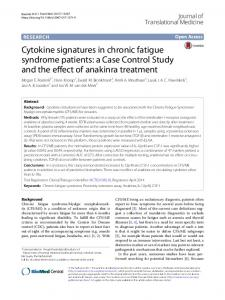 Cytokine signatures in chronic fatigue syndrome patients - Journal of ...