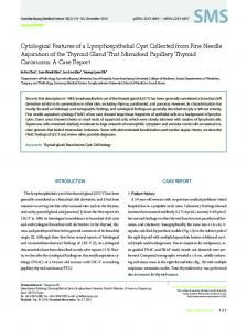Cytological Features of a Lymphoepithelial Cyst