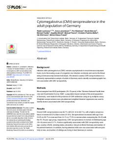 Cytomegalovirus (CMV) seroprevalence in the adult ... - PLOS