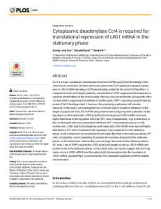 Cytoplasmic deadenylase Ccr4 is required for translational ... - Plos