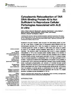 Cytoplasmic Relocalization of TAR DNA-Binding Protein 43 Is Not ...