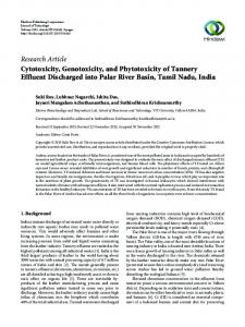Cytotoxicity, Genotoxicity, and Phytotoxicity of Tannery Effluent ...