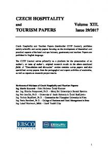 czech hospitality tourism papers