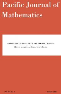 d-simple sets, small sets, and degree classes - Mathematical Sciences ...