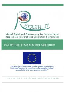 D2.3 RRI Pool of Cases & their Application - Responsibility