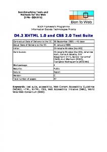 D4.2 XHTML 1.0 and CSS 2.0 Test Suite