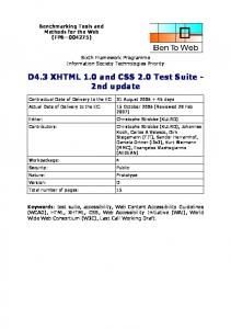 D4.3 XHTML 1.0 and CSS 2.0 Test Suite - 2nd update