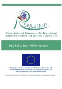 D6.2 Policy Brief: RRI for Security - Responsibility