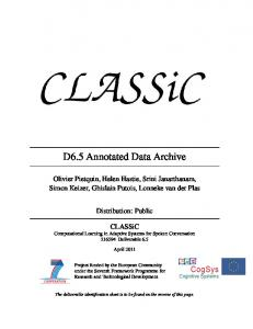 D6.5 Annotated Data Archive - classic-project.org
