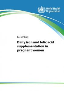 Daily iron and folic acid supplementation in pregnant women