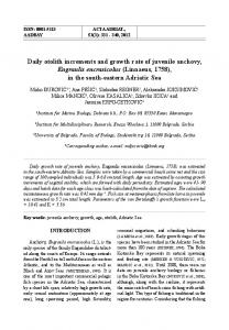 Daily otolith increments and growth rate of juvenile anchovy, Engraulis ...