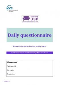 Daily questionnaire - PLOS