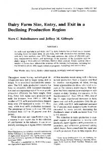 Dairy Farm Size, Entry, and Declining Production ... - AgEcon Search