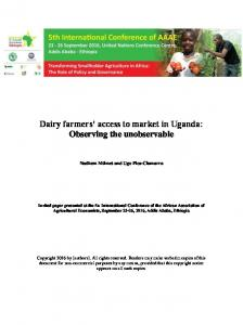 Dairy farmers' access to market in Uganda - AgEcon Search