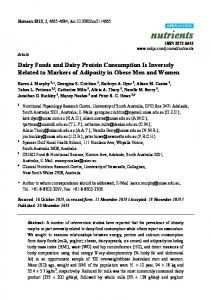 Dairy Foods and Dairy Protein Consumption Is Inversely ... - MDPI