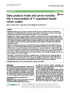 Dairy products intake and cancer mortality risk: a ... - Semantic Scholar