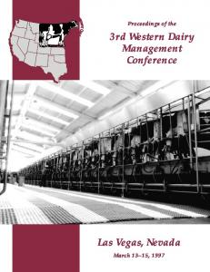 Dairy - Western Dairy Management Conference