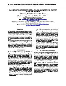 Damages of Digitized Historical Images as Objects for ... - eurasip