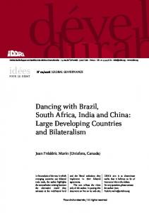Dancing with Brazil, South Africa, India and China: Large ... - Iddri