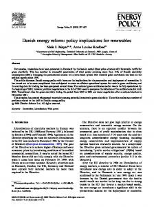 Danish energy reform: policy implications for ...