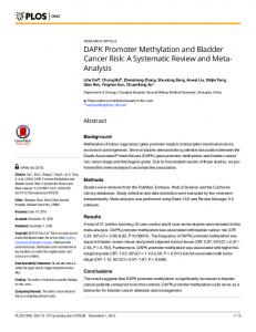 DAPK Promoter Methylation and Bladder Cancer