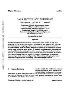 DARK MATTER AND NEUTRINOS arXiv:1711.10564v1 [physics.pop ...