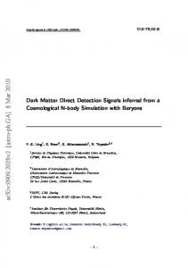 Dark Matter Direct Detection Signals inferred from a Cosmological N ...
