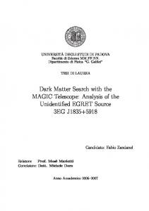 Dark Matter Search with the MAGIC Telescope: Analysis of the ...