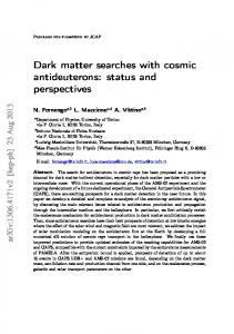 Dark matter searches with cosmic antideuterons: status and ... - arXiv