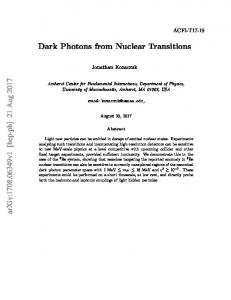 Dark Photons from Nuclear Transitions arXiv:1708.06349v1 [hep-ph