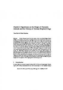 Darwin's Hypotheses on the Origin of Domestic Animals and the ...