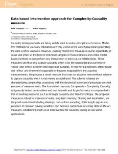 Data based intervention approach for Complexity-Causality ... - PeerJ