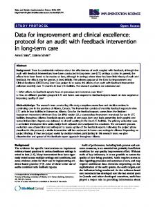 Data for improvement and clinical excellence: protocol for an audit ...