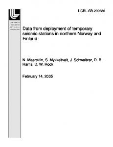 Data from deployment of temporary seismic stations ... - Site Index Page