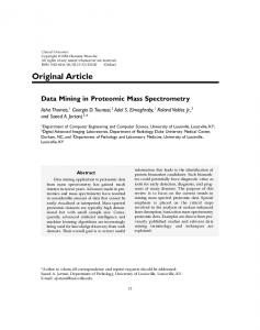 Data mining in proteomic mass spectrometry - Clinical Proteomics