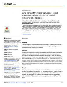 Data mining MR image features of select structures for ... - PLOS