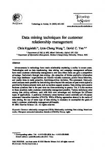 Data mining techniques for customer relationship ... - CiteSeerX