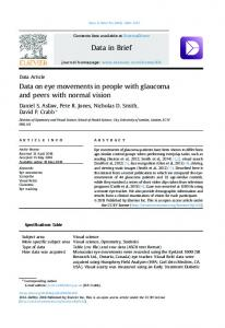 Data on eye movements in people with glaucoma and ...