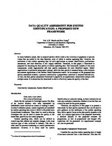 DATA QUALITY ASSESSMENT FOR SYSTEM IDENTIFCATION: A ...