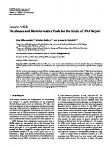 Databases and Bioinformatics Tools for the Study of DNA Repair