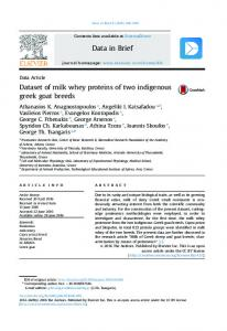 Dataset of milk whey proteins of two indigenous greek goat ... - Core
