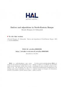 Datives and adpositions in North-Eastern Basque - Core