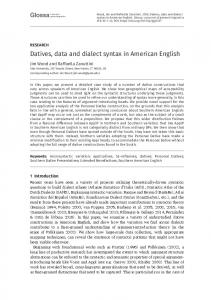 Datives, data and dialect syntax in American English