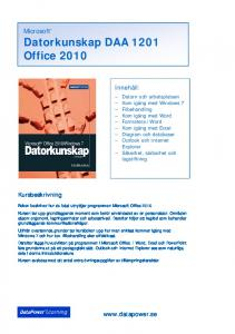 Datorkunskap DAA 1201 Office 2010 - DataPower Learning